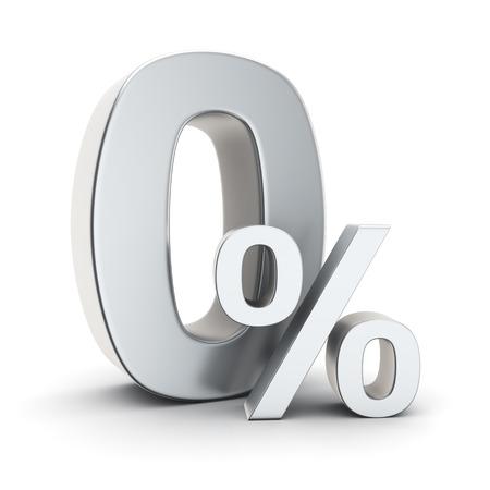 Metallic 0% symbol on the white background Stok Fotoğraf