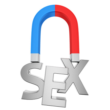 Blue-red magnet magnetizes the word Sex photo