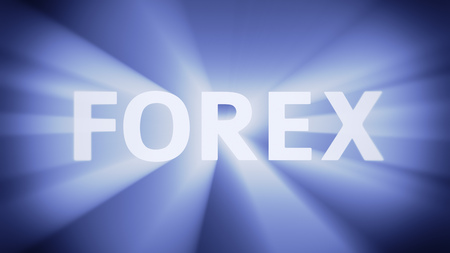 Radiant light from the word FOREX photo