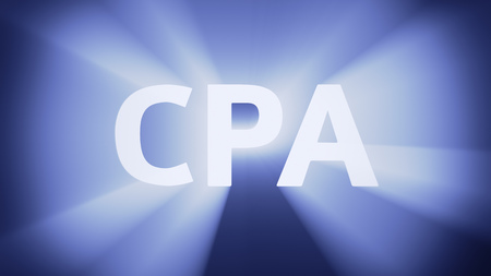 cpa: Radiant light from the acronym CPA Stock Photo