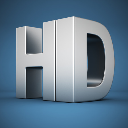 Big metal letters HD on blue background