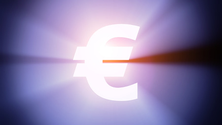 Radiant light from the symbol of euro photo