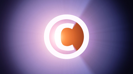 Radiant light from the symbol of copyright