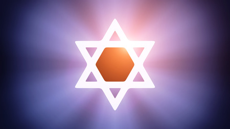 magen: Radiant light from the symbol of Magen David Stock Photo