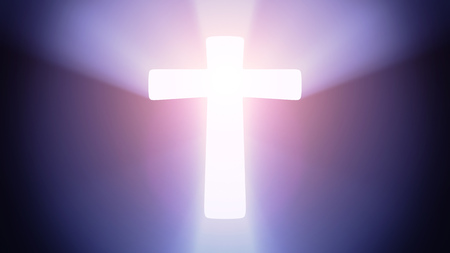 Radiant light from the symbol of cross Stock Photo - 27012740