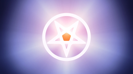 antichrist: Radiant light from the symbol of pentagram Stock Photo