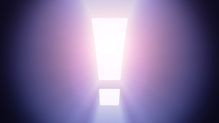 irradiation: Radiant light from the symbol of exclamation