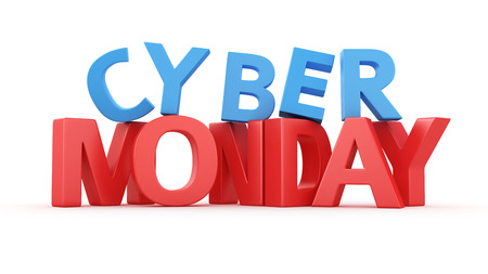 Big 3D letter Cyber Monday on white photo