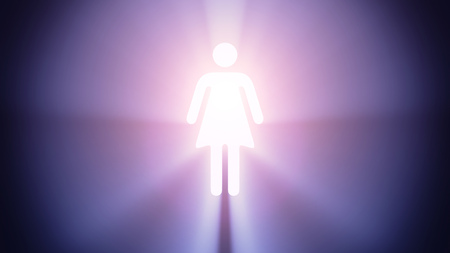 radiant light: Radiant light from the symbol of woman