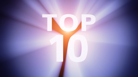 radiant light: Radiant light from the word TOP 10 Stock Photo