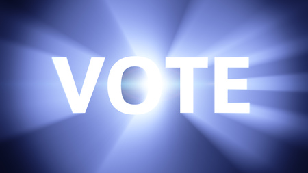radiant light: Radiant light from the word VOTE