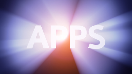 Radiant light from the word APPS