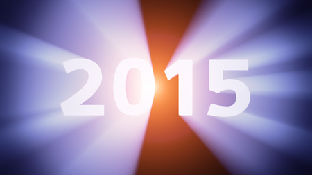 radiant light: Radiant light from the digits 2015 Stock Photo