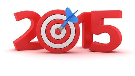 Digits of new year 2015 with small dartboard on white background photo