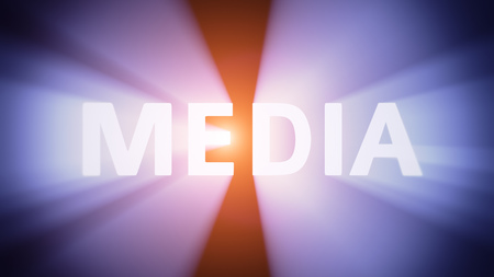 radiant light: Radiant light from the word MEDIA Stock Photo