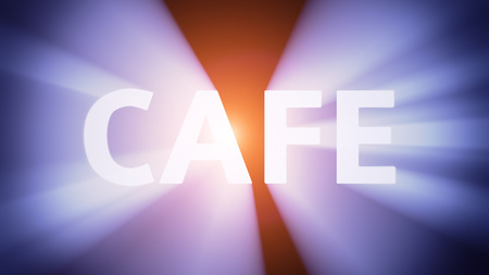 radiant light: Radiant light from the word CAFE
