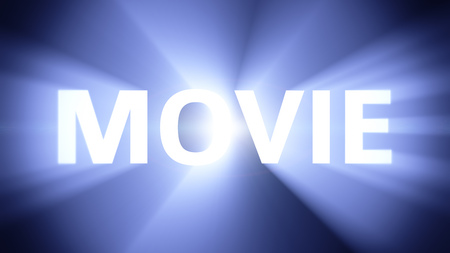 radiant light: Radiant light from the word MOVIE