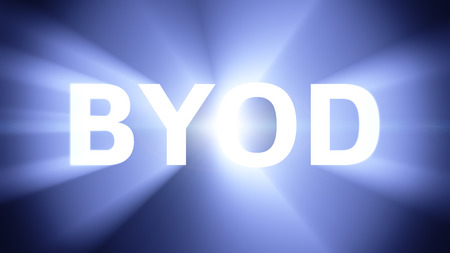 radiant light: Radiant light from the acronym BYOD Stock Photo
