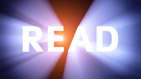 radiant light: Radiant light from the word READ Stock Photo