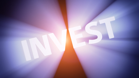 radiant light: Radiant light from the word INVEST Stock Photo
