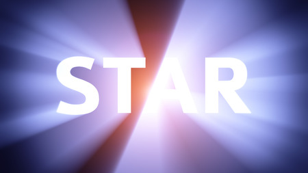 radiant light: Radiant light from the word STAR Stock Photo