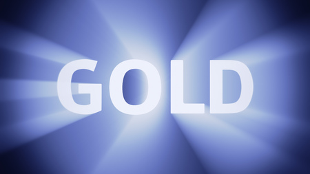 irradiation: Radiant light from the word GOLD Stock Photo
