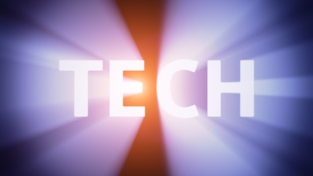 radiant light: Radiant light from the word TECH Stock Photo