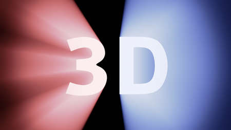 irradiation: Radiant light from the red-blue symbol 3D Stock Photo