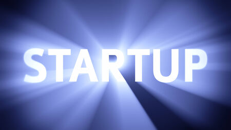 radiant light: Radiant light from the word STARTUP Stock Photo