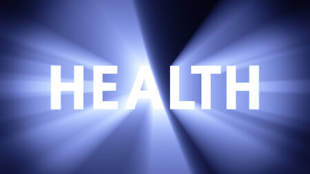 radiant light: Radiant light from the word HEALTH Stock Photo