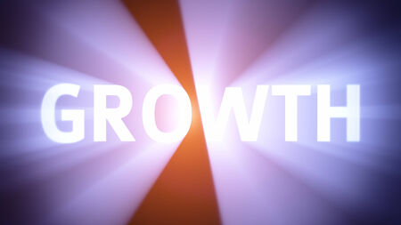 radiant light: Radiant light from the word GROWTH Stock Photo