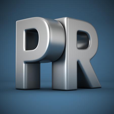 pr: Big metal letters PR on blue