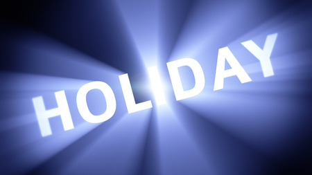 radiant light: Radiant light from the word HOLIDAY Stock Photo