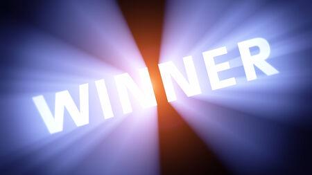 radiant light: Radiant light from the word WINNER Stock Photo