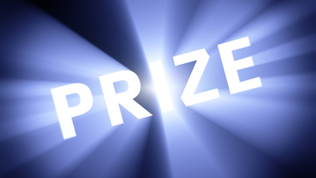 radiant light: Radiant light from the word PRIZE Stock Photo