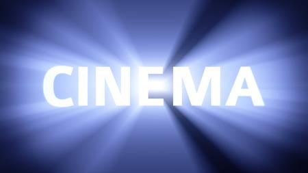 radiant light: Radiant light from the word CINEMA Stock Photo