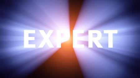 radiant light: Radiant light from the word EXPERT