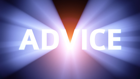 radiant light: Radiant light from the word ADVICE Stock Photo