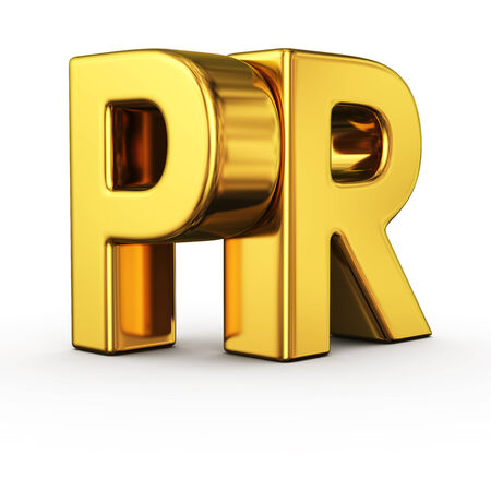 pr: Big gold letters PR on white background Stock Photo