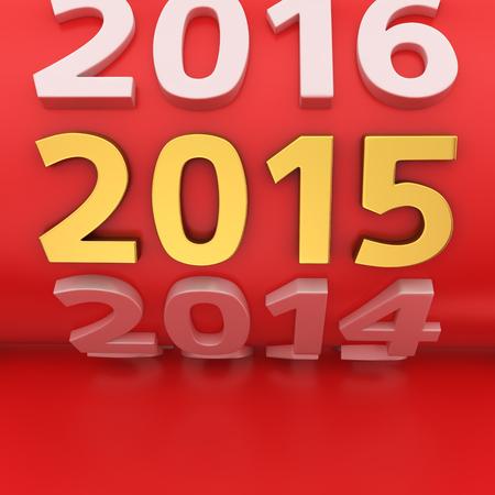 Grote rode roll jaren met gouden 2015 nummer