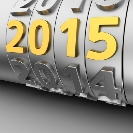 Metalen toonbank roll jaren en gouden 2015 nummer