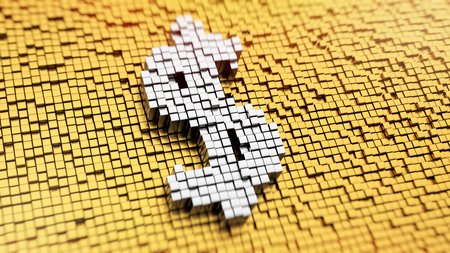 Pixelated symbol of US dollar currency made from cubes, mosaic pattern photo