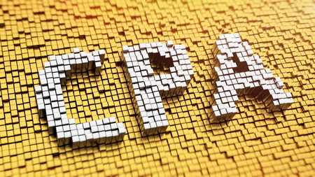 cpa: Pixelated acronym CPA made from cubes, mosaic pattern