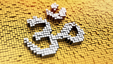 3d om: Pixelated Aum symbol made from cubes, mosaic pattern Stock Photo