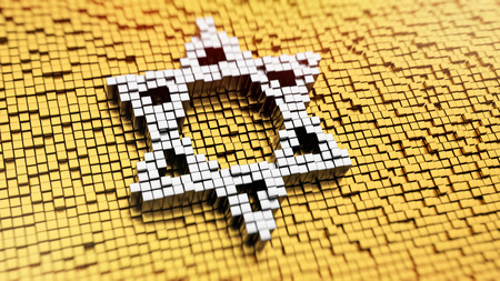 magen: Pixelated symbol of Magen David made from cubes, mosaic pattern Stock Photo