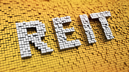 return on investment: Pixelated acronym REIT made from cubes, mosaic pattern