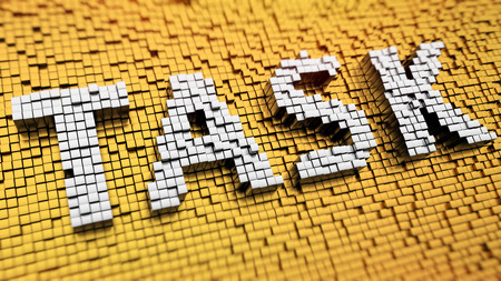 prioritization: Pixelated word TASK made from cubes, mosaic pattern