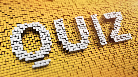 Pixelated word QUIZ made from cubes, mosaic pattern photo