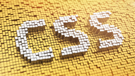 cascading style sheets: Pixelated acronym CSS made from cubes, mosaic pattern