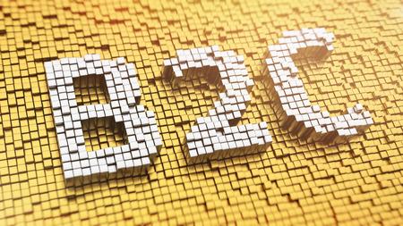 b2c: Pixelated acronym B2C made from cubes, mosaic pattern Stock Photo
